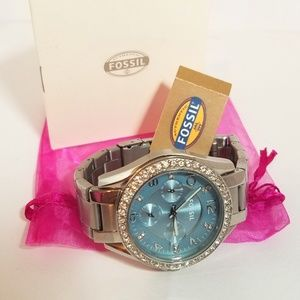 FOSSIL Embellished Blue & Silver Tone Watch NWT
